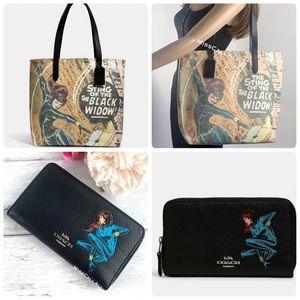 COACH SET MARVEL Black Widow Tote Bag + Wallet